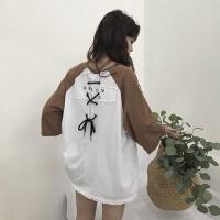 夏季新款女装韩国chic潮V领后背字母印花绑带中袖T恤女宽松上衣