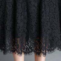 黑色蕾丝半身裙中长款高腰大码字裙百褶裙时尚半身长裙女裙春夏