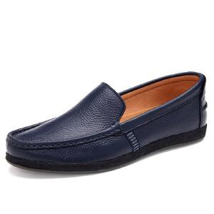【包邮】2018春季新款男士皮鞋 真皮套脚商务休闲男鞋 正装皮鞋8805JZQG支持