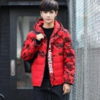 2018男士冬季韩版加厚羽绒服青年短款迷彩外套男装反季清仓上新