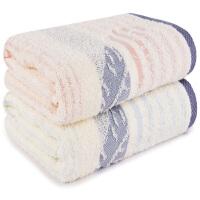 三利 毛巾家纺 纯棉提花羽毛洁面巾2条装 柔软吸水情侣毛巾 成人洗脸巾