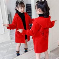 【到手价:84元】童装2019冬季新款女童喜庆呢大衣中大童夹棉加厚外套儿童保暖上衣