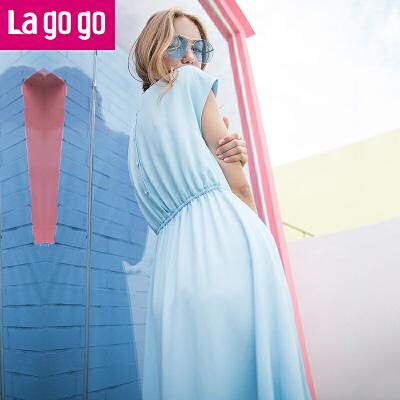 Lagogo2017夏季新款纯色高腰圆领收腰显瘦雪纺连衣裙女中长款裙子