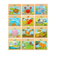 12片木质拼图玩具儿童1-2-3周6岁女孩动物小汽车交通工具早教积木幼儿园男宝宝礼物