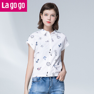 Lagogo2017夏季新款纯棉白色印花休闲衬衫短袖上衣女宽松短款