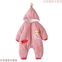婴儿冬装连体衣哈衣女加厚保暖新生儿外出抱衣套装秋冬男宝宝衣服