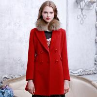 冬�b新品 中�L羊毛大衣修身�毛呢外套S540356D03