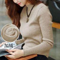 女士毛衣加绒加厚冬季2018新款短款保暖大码半高领百搭打底针织衫
