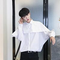 男士韩版宽松长袖衬衫男装纯色个性宽松蝙蝠袖衬衣潮流夜店发型师