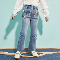 【1件4折:102】巴拉巴拉旗下巴帝巴帝女童牛仔裤儿童长裤子洋气潮2020春装新款喇叭裤女