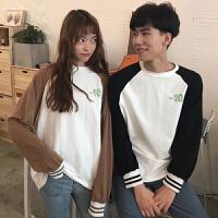 韩版2018秋新款女学生卫衣字母印花拼色情侣闺蜜装长袖上衣T恤潮