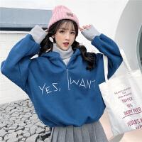 软妹卫衣加绒女加厚高领百搭韩版毛衣领拼接假两件无帽秋冬季上衣