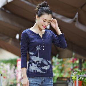 SOOSSN 2018夏季新韩版V领印花长袖女t恤衫打底衫 XX A9980