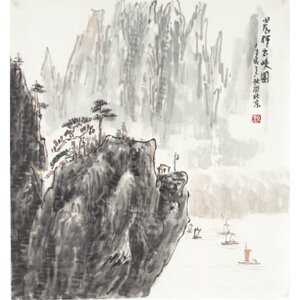 刘海武 《晨辉出峡图》45*45cm