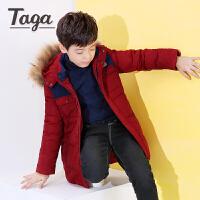 TAGA童装 男童加厚羽绒服冬季中大儿童中长款外出羽绒外套