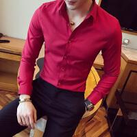 春季男士长袖衬衫韩版红色结婚衬衣男帅气修身休闲打底伴郎寸衫潮