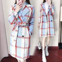 200斤秋冬装女韩版潮时尚小香风中长款格子毛呢外套羊毛呢子大衣