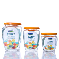 Glasslock干货罐三件套HG638L三光云彩玻璃储物罐糖果罐厨房用品玻璃罐储物罐