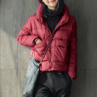 新款酒红色上衣轻薄韩版修身短款季外套2017女士羽绒服 酒红色