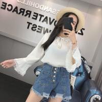 2018春季新款韩版宽松系带喇叭袖纯色雪纺衫女长袖打底上衣