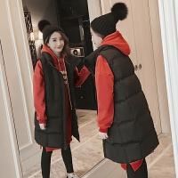 孕妇装2018秋冬装新款宽松孕妇中长款马甲棉衣卫衣两件套套装