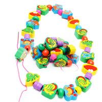 木制动物水果串珠穿绳 儿童小孩早教学习算数智力启蒙玩具