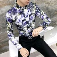 18秋冬新款男士韩版修身大满花长袖衬衫潮流英伦青少年衬衣服