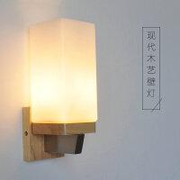 幽咸家居卧室床头灯 玻璃实木壁灯 实木壁灯过道阳台北欧原木风格卧室床头简约YX-BM-2096
