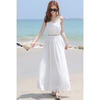 2018新款时尚巴厘岛度假沙滩裙夏季v领吊带雪纺蕾丝露背长裙连衣裙 白色