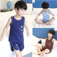 儿童睡衣男童家居服夏季中大童短袖薄款空调服小男孩背心套装