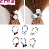 发圈韩国头绳扎头发橡皮筋弹力正方块吊坠头饰发绳成人发饰女饰品