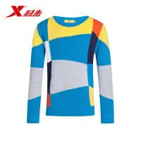特步童装 中大童男童服装秋新款正品运动上衣编织套头儿童毛衣685425100144