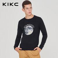 kikc长袖针织衫男2018秋季新款韩版黑色圆领时尚印花青年休闲毛衣