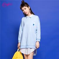 中长款卫衣女士春装新款圆领套头韩版潮学生宽松bf风蓝色上衣外套30071598