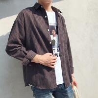 新款2018男士长袖男士个性长袖衬衫日系港风长袖衬衫学生春秋潮流