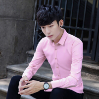春季衬衫男长袖修身型商务职业正装伴郎衬衣纯色寸衫