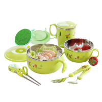 吸盘碗婴儿辅食碗勺 儿童餐具套装宝宝注水保温碗吃饭碗不锈钢