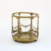 收获小屋手工制作复古黄铜雕花玻璃化妆刷笔筒收纳 极美