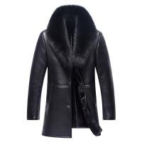 真皮皮衣男皮毛一体男装绵羊皮中长款男装草皮衣大毛领绵羊皮大衣厚外套 黑色
