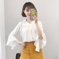 白色衬衫女长袖2018春装新款韩版宽松喇叭袖雪纺上衣超仙甜美夏季
