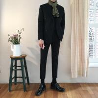 秋季韩国双排扣韩版修身休闲小西装外套男士色英伦结婚西服套装