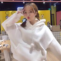 秋冬女装韩版可爱爱心卡通刺绣宽松加绒加厚连帽卫衣外套学生上衣