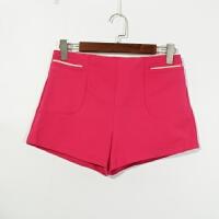 P07086女装精品新款简约隐形拉链高腰显瘦女两色选纯色时尚短裤