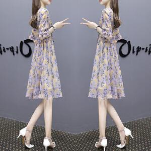 安妮纯夏季新款2019女装韩版修身显瘦a字裙子中长款碎花收腰雪纺连衣裙