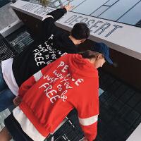 新款原创秋装字母印花拉链连帽情侣装卫衣拼色潮男宽松版开衫外套