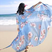 旅游搭配波西米亚雪纺飘逸海边度假沙滩裙修身两件套连衣裙长裙仙