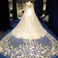 一字肩婚纱礼服2018新款韩式新娘结婚冬季季长拖尾宫廷森系 长拖尾婚纱