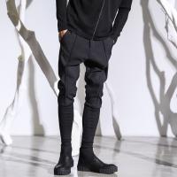 新款秋装新青少年小脚哈伦裤男修身韩版潮流靴裤黑色锥形裤发型师