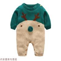 宝宝针织连体衣婴儿衣服女哈衣3个月新生儿毛衣爬服秋冬季男新款 墨绿色