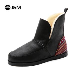 jm快乐玛丽女鞋纯羊毛加绒保暖雪地靴女冬季时尚短靴棉鞋子61776W